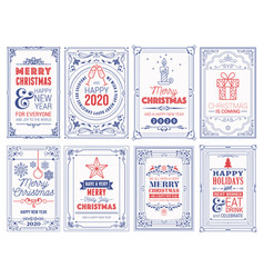 ornate square winter holidays greeting cards with vector image