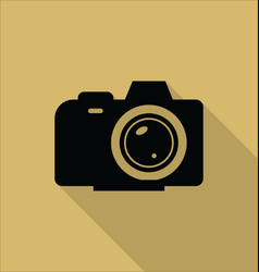 photo camera icon isolated on yellow background vector image