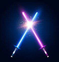 purple and blue crossed light neon swords fight vector image