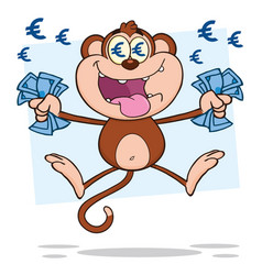 rich monkey cartoon character jumping with cash mo vector image