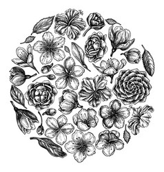 round floral design with black and white hibiscus vector image