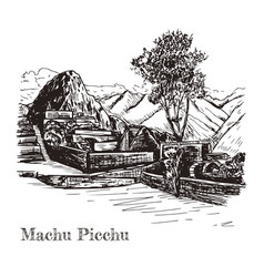 Ruin of ancient civilization machu picchu vector