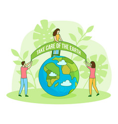 Save green planet happy earth day filled vector