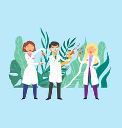scientists doctors communication team doctors vector image