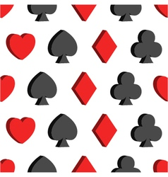 Seamless pattern with card suits hearts clubs vector