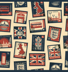 seamless pattern with postage stamps on uk theme vector image