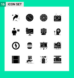 Set 16 solid glyphs on grid for shipment human vector