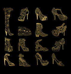 set isolated sketches golden woman shoes vector image