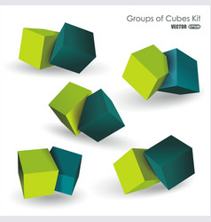 Set of blue and green 3d cubes structure over vector