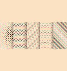 set of simple seamless color patterns - retro vector image
