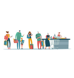 shop queue people customers standing in long line vector image
