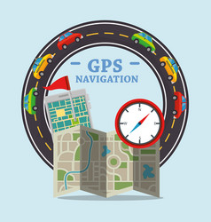 Smartphone with gps navigation app vector