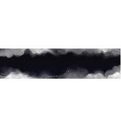 Smoke frame horizontal border white smog clouds vector