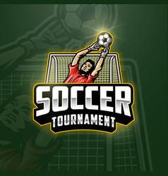 soccer goalkeeper emblem vector image