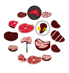 steak icons set flat style vector image