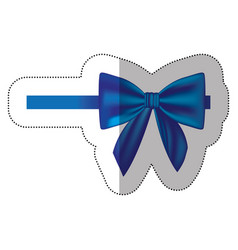 sticker satin blue ribbon and bow wrapping vector image