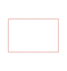 stitched square border or sewing seams frame the vector image