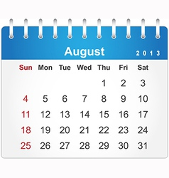 Stylish calendar page for August 2013 vector image