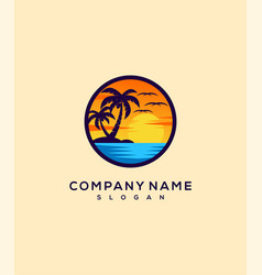 sunset logo design vector image