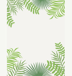 Tropical frame green leaves white background vector