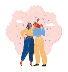 two woman celebrate success vector image