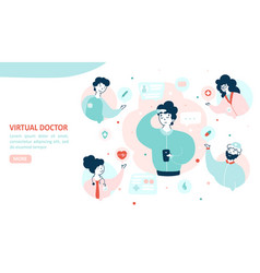 virtual doctor landing page flat template vector image