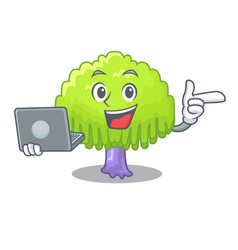 With laptop isolated weeping willow on the mascot vector