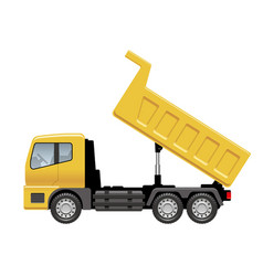 Yellow dump truck isolated on a white background vector