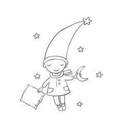 cute little gnome moon and pillow vector image