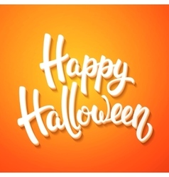Halloween greeting card with white brush lettering vector image vector image