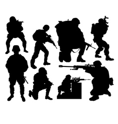 silhouettes of soldiers vector image vector image