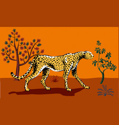 cheetah looking for a prey in the african savannah vector image