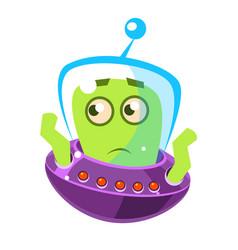 embarrassed green alien cute cartoon monster vector image