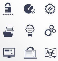 Icons of different services of IT company vector image vector image