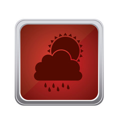 red emblem cloud rainning with sun icon vector image