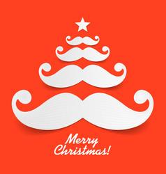 santas mustache christmas tree vector image