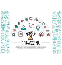 travel line icons template vector image vector image