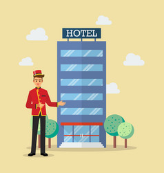 Welcome to hotel bellboy service vector