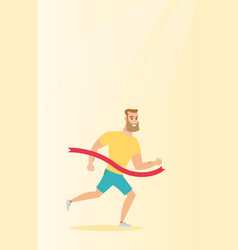 young caucasian sportsman crossing finish line vector image vector image