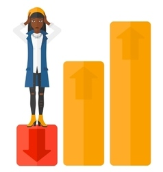 Business woman standing on low graph vector
