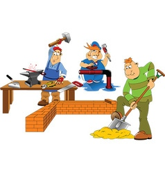 Cartoon builders vector image vector image