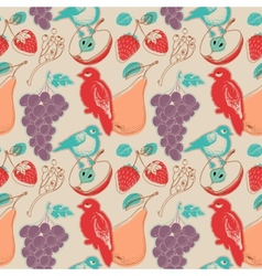 Fruits and birds retro seamless pattern vector image