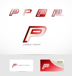 Letter P red logo icon vector image vector image