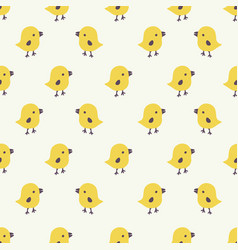 seamless pattern with cartoon yellow chicks vector image