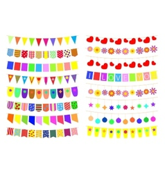 Set of festive decorations on the ropes vector image