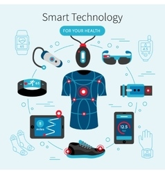Smart Technology Line Poster vector image vector image