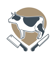 butchery logotype sign with cow and two meat vector image
