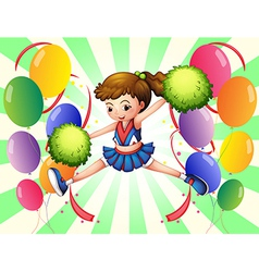 Colorful balloons with a young cheerer vector image vector image
