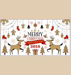 merry christmas background set simple modern vector image vector image