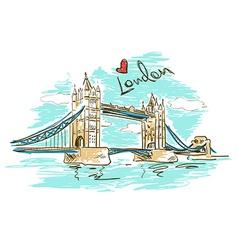 Sketch of Tower Bridge in London vector image